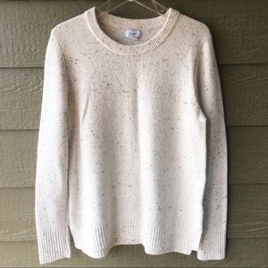 Ladies L creme Old Navy sweater multicolored dots